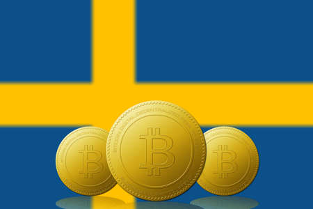 Three Bitcoins cryptocurrency with Sweden flag on background. 版權商用圖片