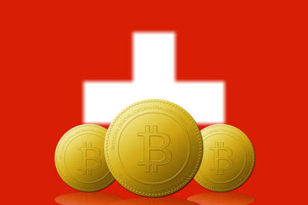 Three Bitcoins cryptocurrency with Switzerland flag on background. 版權商用圖片 - 104937267