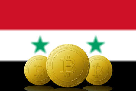 Three Bitcoins cryptocurrency with Syria flag on background.