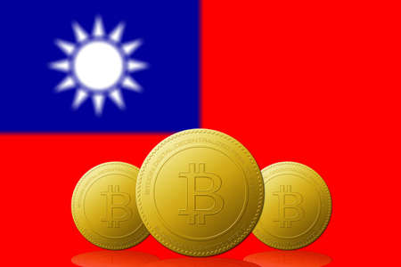 Three Bitcoins cryptocurrency with Taiwan flag on background. 版權商用圖片 - 104937269