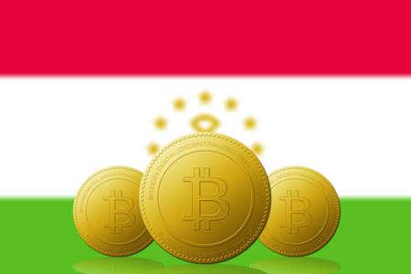 Three Bitcoins cryptocurrency with Tajikistan flag on background. 版權商用圖片