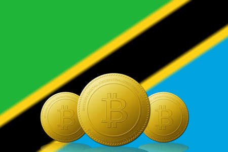 Three Bitcoins cryptocurrency with Tanzania flag on background. 版權商用圖片 - 104937271