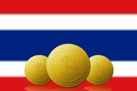 Three Bitcoins cryptocurrency with Thailand flag on background. 版權商用圖片 - 104937272