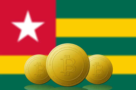 Three Bitcoins cryptocurrency with Togolese Republic flag on background.