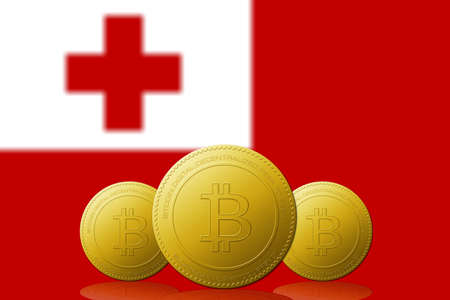 Three Bitcoins cryptocurrency with Tonga flag on background. 版權商用圖片 - 104937274