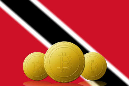 Three Bitcoins cryptocurrency with Trinidad and Tobago flag on background.