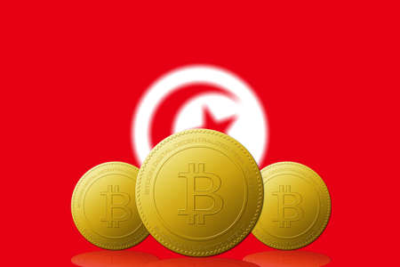Three Bitcoins cryptocurrency with Tunisia flag on background. 版權商用圖片