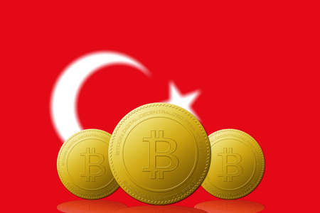 Three Bitcoins cryptocurrency with Turkey flag on background. 版權商用圖片