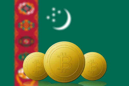 Three Bitcoins cryptocurrency with Turkmenistan flag on background.