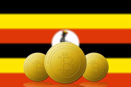 Three Bitcoins cryptocurrency with Uganda flag on background.
