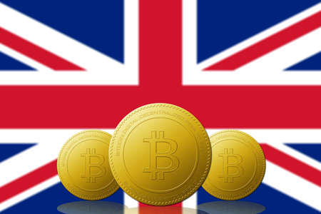Three Bitcoin cryptocurrency with UNITED KINGDOM flag on background.