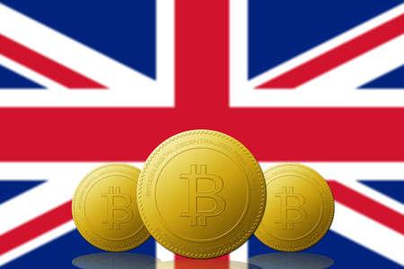 Three Bitcoin cryptocurrency with UNITED KINGDOM flag on background. 版權商用圖片 - 104937392