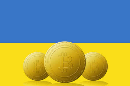 Three Bitcoins cryptocurrency with Ukraine flag on background.