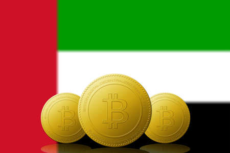 Three Bitcoins cryptocurrency with United Arab Emirates flag on background. 版權商用圖片 - 104937394
