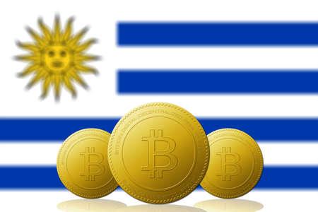 Three Bitcoins cryptocurrency with Uruguay flag on background. 版權商用圖片