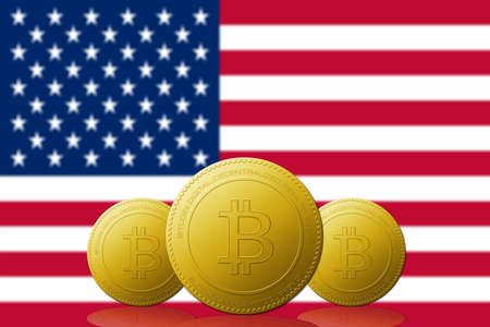 Three Bitcoin cryptocurrency with USA flag on background.
