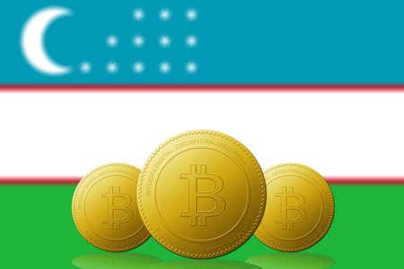 Three Bitcoins cryptocurrency with Uzbekistan flag on background.