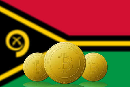 Three Bitcoins cryptocurrency with Vanuatu flag on background. 版權商用圖片 - 104937398