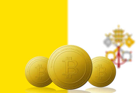 Three Bitcoins cryptocurrency with flag on background. Stock Photo