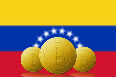 Three Bitcoin cryptocurrency with Venezuela flag on background. 版權商用圖片 - 104937400