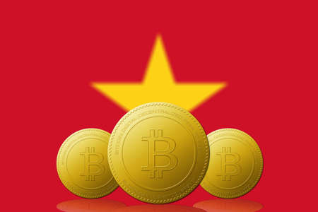 Three Bitcoins cryptocurrency with  Vietnam flag on background. 版權商用圖片 - 104937402