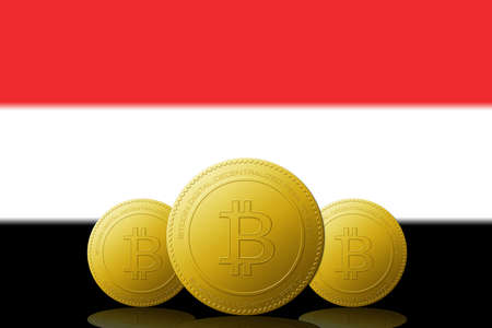 Three Bitcoins cryptocurrency with Yemen flag on background. Stock fotó