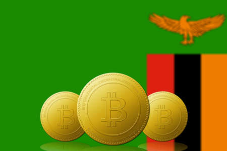 Three Bitcoins cryptocurrency with Zambia flag on background. Stock fotó