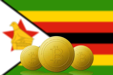 Three Bitcoins cryptocurrency with Zimbabwe flag on background. 版權商用圖片 - 104937404