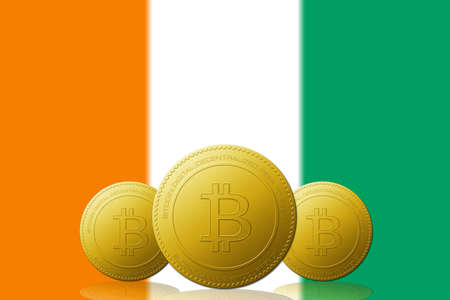 Three Bitcoins cryptocurrency with Republic of Côte d'Ivoire flag on background. 版權商用圖片 - 104937405