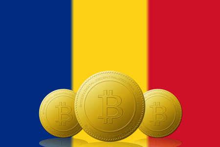 Three Bitcoins cryptocurrency with Romania flag on background. 版權商用圖片 - 104937828