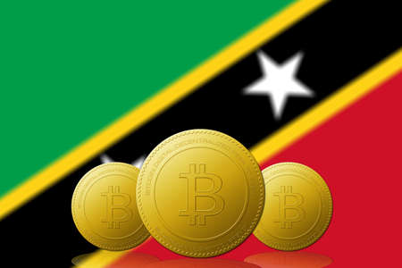 Three Bitcoins cryptocurrency with Saint Kitts and Nevis flag on background. 版權商用圖片
