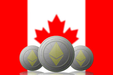 3D ILLUSTRATION Three ETHEREUM cryptocurrency with CANADA flag on background.