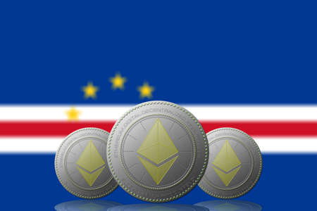 3D ILLUSTRATION Three ETHEREUM cryptocurrency with CAPE VERDE flag on background.