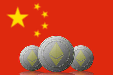 3D ILLUSTRATION Three ETHEREUM cryptocurrency with CHINA flag on background. 版權商用圖片