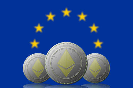 3D ILLUSTRATION Three ETHEREUM cryptocurrency with  EUROPEN UNION flag on background. 版權商用圖片 - 132030840
