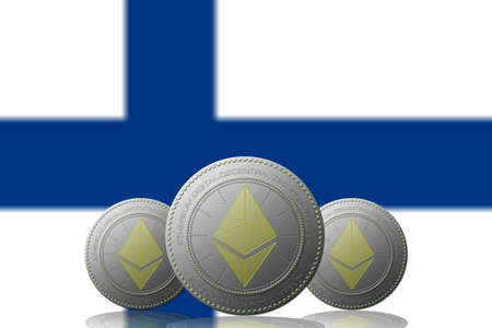 Three Bitcoins cryptocurrency with Finland flag on background.