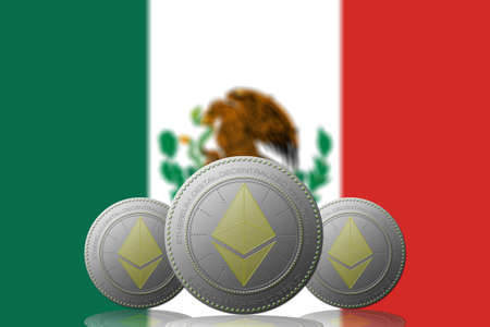 3D ILLUSTRATION Three ETHEREUM cryptocurrency with MEXICO flag on background.