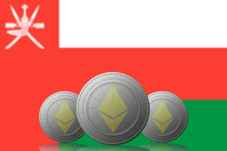 3D ILLUSTRATION Three ETHEREUM cryptocurrency with Oman flag on background. 版權商用圖片 - 132030846