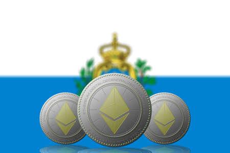 3D ILLUSTRATION Three ETHEREUM cryptocurrency with Saint Marino flag on background.