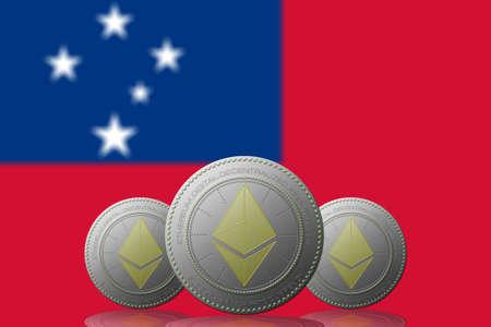 3D ILLUSTRATION Three ETHEREUM cryptocurrency with Samoa flag on background. 版權商用圖片 - 132030858