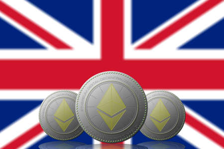 3D ILLUSTRATION Three ETHEREUM cryptocurrency with UNITED KINGDOM flag on background.