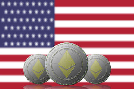 3D ILLUSTRATION Three ETHEREUM cryptocurrency with USA flag on background.