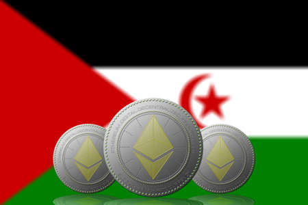 3D ILLUSTRATION Three ETHEREUM cryptocurrency with WESTERN SHARA flag on background.