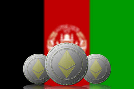 3D ILLUSTRATION Three  ETHEREUM cryptocurrency with AFGANISTAN flag on background. 版權商用圖片