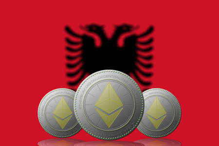 3D ILLUSTRATION Three ETHEREUM cryptocurrency with ALBANIA flag on background. Stock fotó
