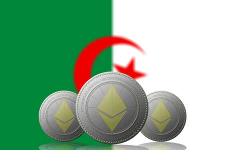 3D ILLUSTRATION Three ETHEREUM cryptocurrency with ALGERIA flag on background. 版權商用圖片