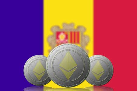 3D ILLUSTRATION Three ETHEREUM cryptocurrency with ANDORRA flag on background. 版權商用圖片