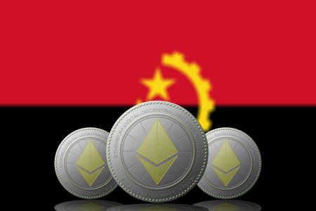 3D ILLUSTRATION Three ETHEREUM cryptocurrency with ANGOLA flag on background. 版權商用圖片