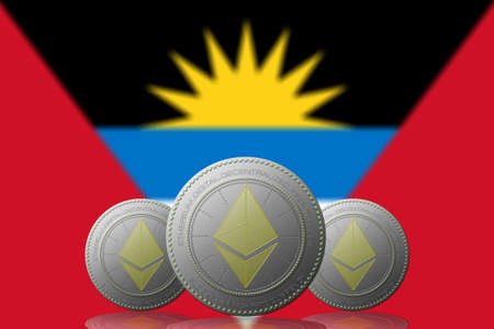 3D ILLUSTRATION Three ETHEREUM cryptocurrency with ANTIGUA Y BARBUDA flag on background. 版權商用圖片 - 132030893