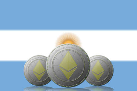 3D ILLUSTRATION Three ETHEREUM cryptocurrency with ARGENTINA flag on background.